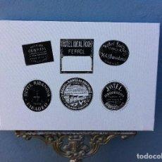 Arte: SERIGRAFÍA SOBRE LIENZO CON BASTIDOR (ETIQUETAS ANTIGUAS HOTEL). FERROL, RIBADEO, GUITIRIZ. HOTELES. Lote 84519644