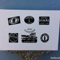 Arte: SERIGRAFÍA SOBRE LIENZO CON BASTIDOR (ETIQUETAS ANTIGUAS HOTEL). CORUÑA. 55 X 38CM. HOTELES. Lote 84520172