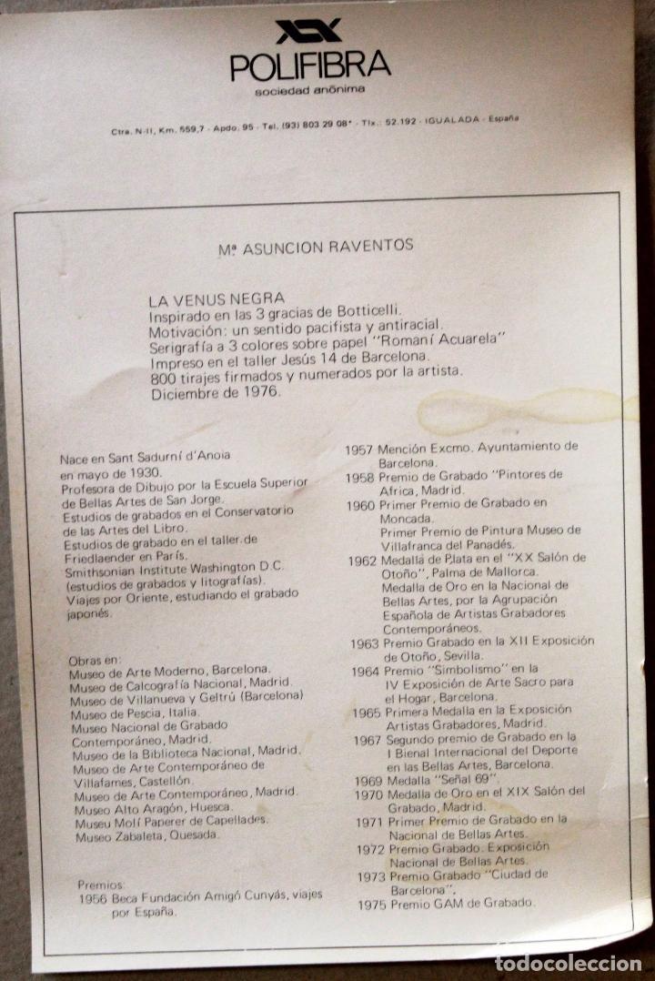 Arte: Mª ASUNCIÓN RAVENTOS, LA VENUS NEGRA, SERIGRAFIA A 3 COLORES, FIRMADO Y NUMERADO. - Foto 4 - 84999960