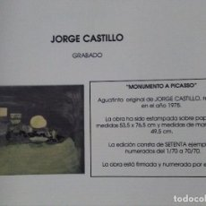 Arte: JORGE CASTILLO.MONUMENTO A PICASSO. Lote 90542520