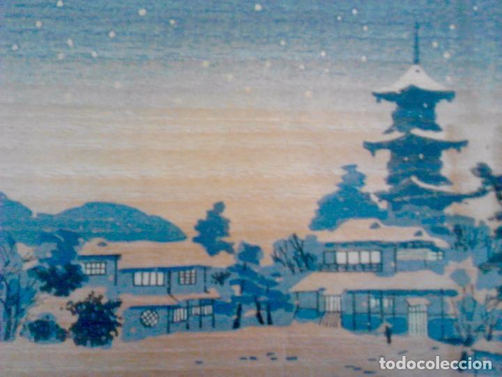 Arte: Estampa Japonesa. Serigrafía o similar. 4 tintas. 21 x 14 cm. Firma grabada - Foto 3 - 92478730