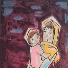 Arte: PILAR GARCÍA BARRÓN. SERIGRAFÍA DE LA VIRGEN Y EL NIÑO.. Lote 94135775
