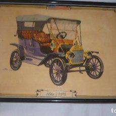 Arte: COCHE ANTIGUO REPRODUCION SOBRE TABLA -FORD T- 1908. Lote 96701723