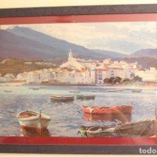 Arte: EZEQUIEL TORROELLA MATÓ (1921-1998) CADAQUÉS LOS BARCOS - C. 1960 IMPRESIÓN DE ALTA CALIDAD. Lote 134956966