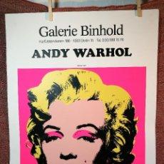 Arte: CARTEL ORIGINAL EXPOSICION ANDY WARHOL...AUSSTELLUNGSPLAKAT GALERIE BINHOLD, BERLIN, 1980-REF-D. Lote 141164606