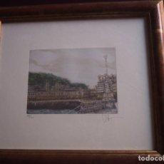 Arte: SERIGRAFIA EN COLOR VISTA DE SAN SEBASTIÁN. 221/225. FIRMADO. ENMARCADO. AÑOS 80.. Lote 141744702