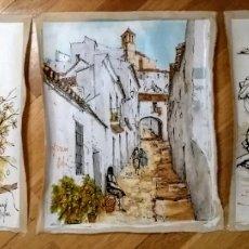 Arte: BERNARD DUFOUR, TRIO DE OBRAS DE ACRÍLICO SOBRE TELA 40X50. Lote 144793753