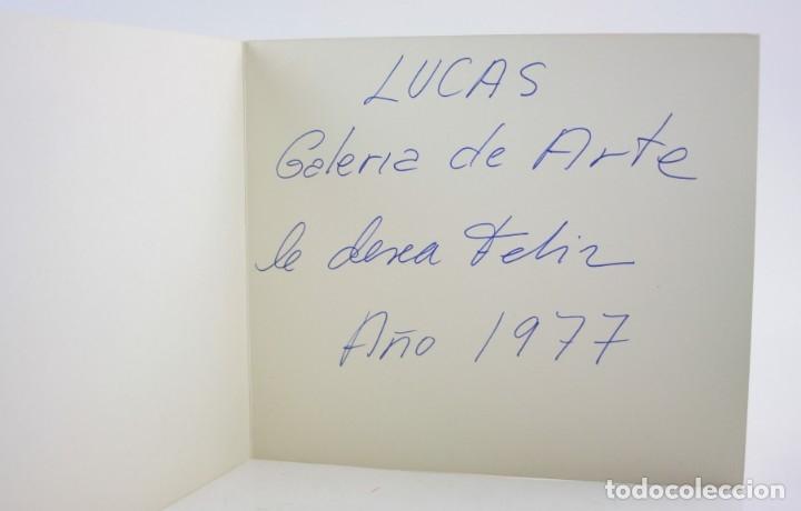 Arte: Serigrafia, 1976, firma ilegible, felicitación de navidad Lucas galería de arte. 25x22cm - Foto 2 - 151225142