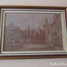 Arte: CUADRO GRABADO SOBRE TELA, DE SEVILLA ENMARCADO DE 84 X 62 CM.. Lote 154502354