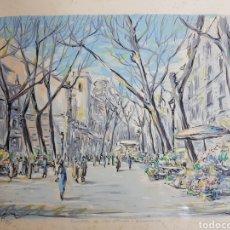 Arte: RAMBLA DE LAS FLORES BARCELONA POR C. SCHELLER. Lote 156712156