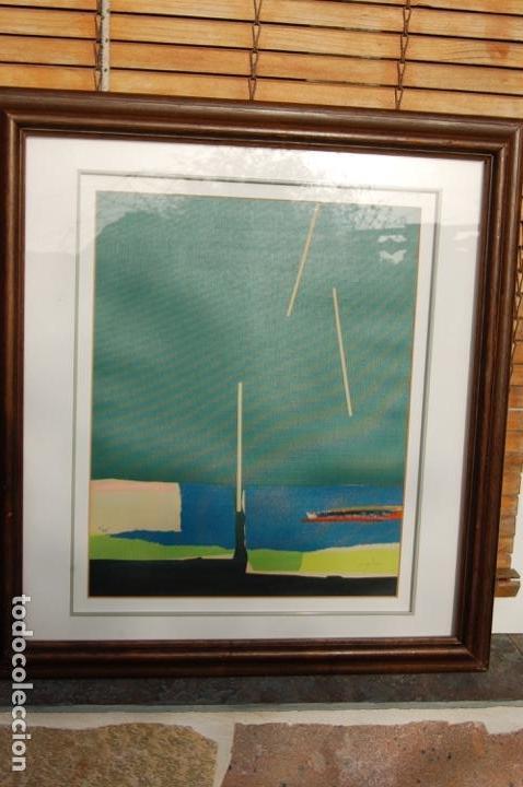 Arte: Sanjuan. Serigrafía de 35 x 44 bien enmarcada en 59 x 64. Composición 80. Certificada. Ejem 21/25. - Foto 17 - 159997722