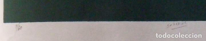 Arte: Hugo Solschak. Serigrafía Abstracción. Numerada 11/60. Firmada a mano. 1991. 36x25 cm. Papel Guarro. - Foto 2 - 160414186