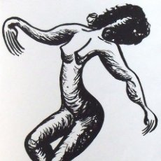 Arte: NÚRIA AYMERICH. SERIGRAFÍA SILUETA FEMENINA. NUMERADA 11/60. FIRMADA A MANO. 1991. 36X25 CM.. Lote 160415454