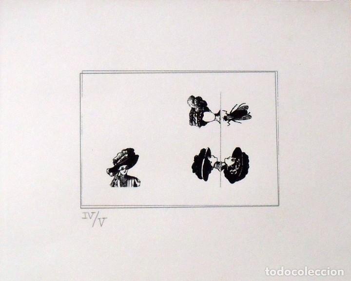 SERIGRAFÍA POEMA VISUAL. MUJER CON SOMBRERO Y MOSCA. NUMERADA IV/V. 31X38 CM. PAPEL GUARRO. (Arte - Serigrafías )