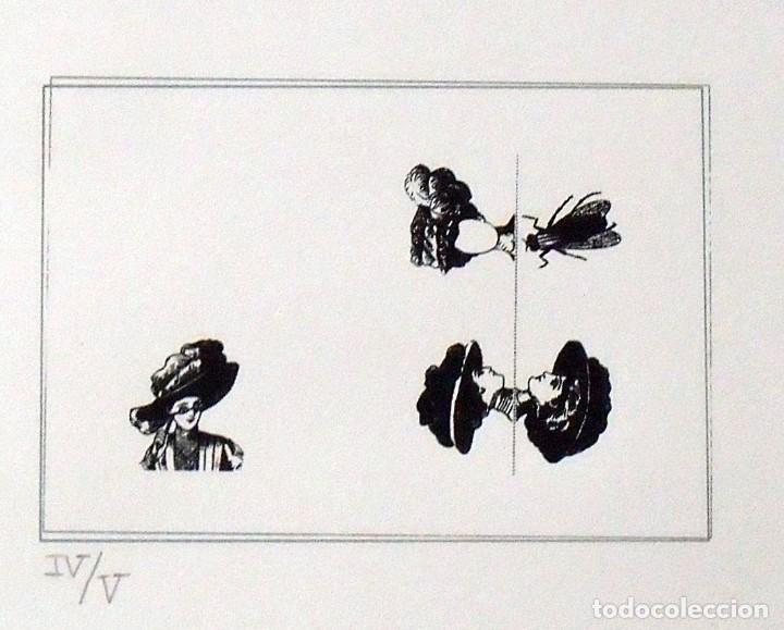 Arte: Serigrafía Poema Visual. Mujer con sombrero y mosca. Numerada IV/V. 31x38 cm. Papel Guarro. - Foto 2 - 160733694