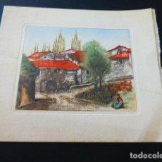 Arte: BURGOS VISTA DE LA CIUDAD SERIGRAFIA ORTIZ MADRID 1950 13,5 X 16 CMTS. Lote 164699642