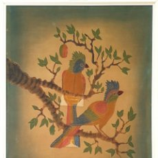 Arte: PAREJA DE CACATUAS. BATIK SOBRE ALGODÓN. INDONESIA. 1984.. Lote 165601266