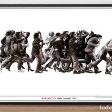 Arte: CARTEL DE OBRA - JUAN GENOVÉS - GENTE CORRIENDO , 1975 - EDITADO POR MUSEO REINA SOFIA MADRID - TAMA. Lote 167539400