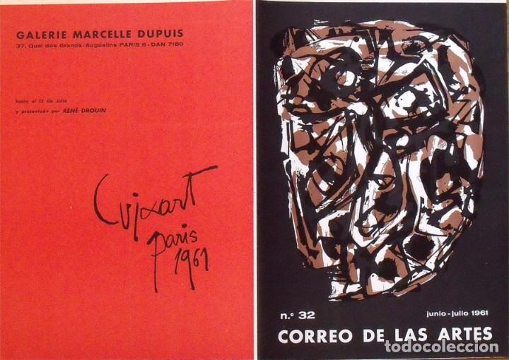 Arte: Serigrafía original Antonio Saura. Portada Correo de las Artes Nº 32. 1961. Buen estado. - Foto 3 - 196103757