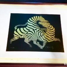 Arte: VICTOR VASARELY - ZEBRAS - SÉRIGRAFIA EN COLOR.EDICION NUMERADA Nº63-LIMITADA DE 175TAMAÑO 30X26CMS . Lote 169745360
