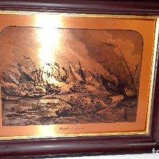 Arte: CUADRO LAMINA DE COBRE CON SERIGRAFIA DE LA BATALLA DE LEPANTO.. Lote 170953868
