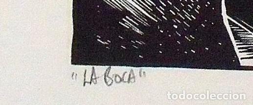 Arte: Raul Capitani. La boca. Firmada a mano. 1975. 23x32 cm. Buen estado. - Foto 4 - 172417349