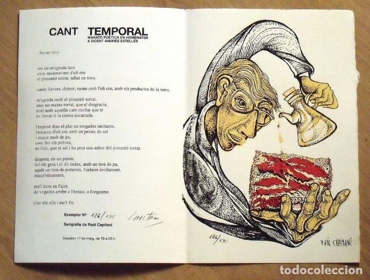 Arte: Vicent Andrés Estellés. Marató Poètica. Catalònia. Serigrafia firmada y numerada Raul Capitani. - Foto 2 - 176103824