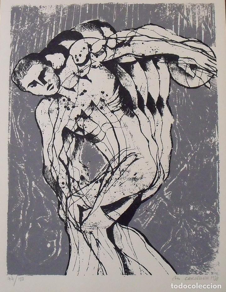 MANEL CARCELLER. SERIGRAFÍA EL DISCÓBOLO. FIRMADA A MANO Y NUMERADA 77/180. 1988. 33X25 CM. (Arte - Serigrafías )
