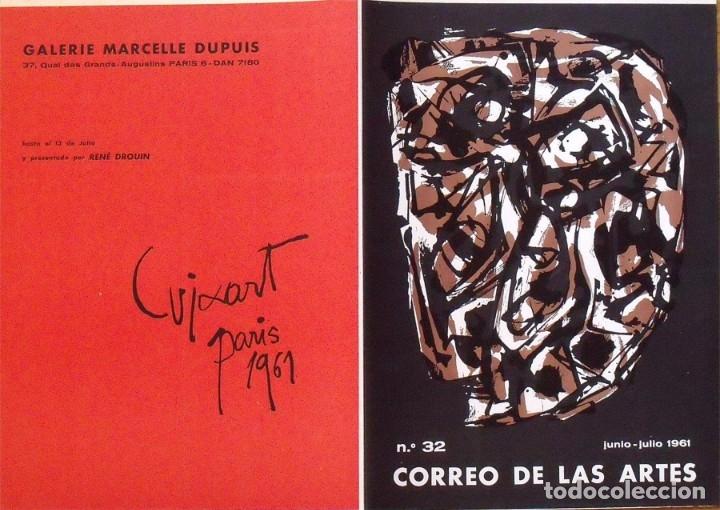 Arte: Serigrafía original Antonio Saura. Portada Correo de las Artes Nº 32. 1961. Buen estado. - Foto 4 - 215293847