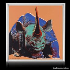 Arte: ANDY-WARHOL-BLACK-RHINOCEROS-1983-FROM-ENDANGERED-SPECIES-SCREENPRINT-965-X-962-CM-12 DE 150. Lote 188772956