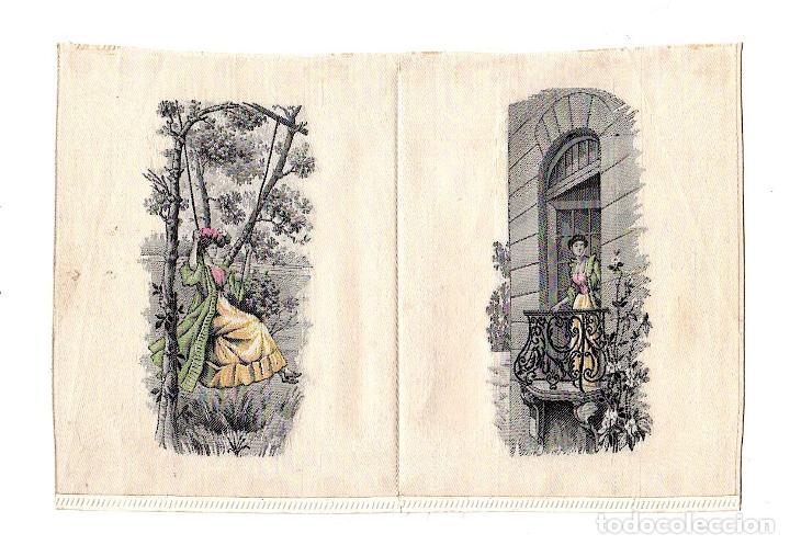 ESCENA ROMANTICA IMPRESA A MAQUINA SOBRE TELA. INGLATERRA. SIGLO XIX. RAREZA (Arte - Serigrafías )