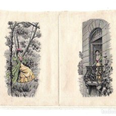 Arte: ESCENA ROMANTICA IMPRESA A MAQUINA SOBRE TELA. INGLATERRA. SIGLO XIX. RAREZA. Lote 190209906