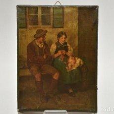 Arte: CUADRO DE ESCENA DE GENERO HOLANDES SERIGRAFIA PINTADA SOBRE LIENZO. Lote 192847968