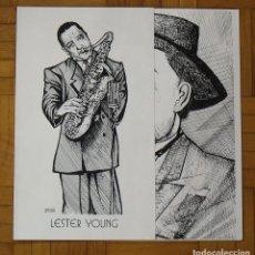 Arte: SERIGRAFIA LESTER YOUNG. ROSTROS DE JAZZ NEGRO. RAUL CAPITANI. 32X32 CM CERRADO. 50X32 CM ABIERTO. Lote 193916876