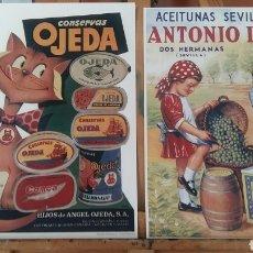 Arte: CARTELES ESPAÑOLES ALIMENTACION . PAREJA DE LAMINAS TIPO LITOGRAFIA LISTAS PARA ENMARCAR. Lote 194011391