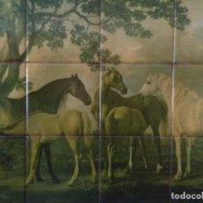 Arte: CUADRO VINTAGE AZULEJOS REPRODUCCION DE MARES AND FOAIS IN A RIVER DE GEORGE STUBBS 1742/1806. Lote 197390703