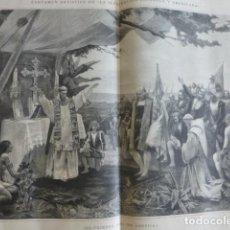 Art: LA PRIMERA MISA EN AMERICA COLON POR JOSE ARBURU SERIGRAFIA 1889. Lote 200142980