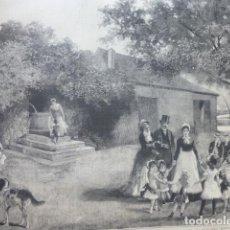 Arte: MADRID PASEO DEL RETIRO FUENTE DE LA SALUD AMA DE CRIA PASIEGA NIÑERA NODRIZA SERIGRAFIA 1885. Lote 200570425
