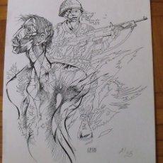 Arte: LA GUERRA Y EL SOLDADO. RAUL CAPITANI. FIRMADA EN PLANCHA. NUMERADA 1/25. BUEN ESTADO. 30X24 CM.. Lote 203991516