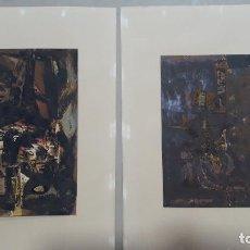 Arte: PAREJA DE SERIGRAFIAS LUCIO MUÑOZ,PINTURA SOBRE TABLA 1960,HOMENAJE A LA NIÑA DE LOS PEINES 1960. Lote 206490911