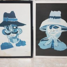 """Art: CESAR MANRIQUE - CUADROS DE 2 LITOGRAFÍAS """"LOS CAMPESINOS"""" CON FIRMA IMPRESA, ENMARCADAS 74 X 52. Lote 208292586"""