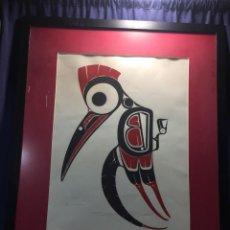 """Art: SERIGRAFIA ART THOMPSON CANADÁ, 1948 - 2003 """"WOODPECKER """"FIRMADA, FECHADA EN 1974 Y NUMERADA 30/200. Lote 213692826"""
