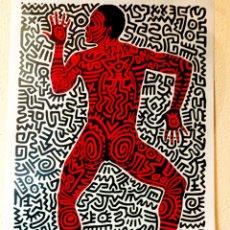 Arte: CARTEL DE KEITH HARING, DE EXPOSICION DE 1983 , IMPRESION SCREENPRINT SOBRE LONA LIENZO 92 X 62 CMS. Lote 245747530
