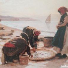Arte: DIONIS BAIXERAS VERDAGUER (BARCELONA, 1862-1943) - PESCADORES EN LA PLAYA.. Lote 251467900