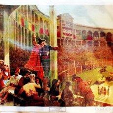 Arte: BLANCHARD Y SABATIER -EL ARRASTRE- IMPRESA SOBRE LIENZO DE TELA, DEL MUSEO ROMANTICO MADRID- 56 X 45. Lote 253943655