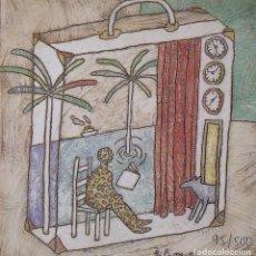 Arte: ÀLVAR FARRÉ MADUELL. VIAJE Y MALETA. FIRMADA EN PLANCHA. NUMERADA A MANO 95/500. 21,5X21,5 CM.. Lote 263147795