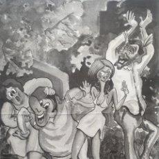 Arte: MIQUEL ROS I SABALLS (PALAFRUGELL, 1942-2016) - CARICATURAS DE FIESTA.FIRMADA.. Lote 264720559