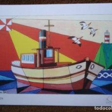 Art: SERIGRAFÍA DE PEDRO CASTRO COUTO 4/50 A LANCHA MIDE 23 X 32CM. FIRMADA Y NUMERADA 4/50. Lote 266765058