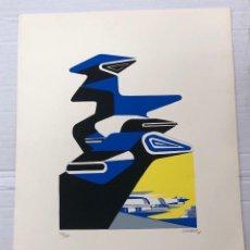 Arte: SERIGRAFIA ABSTRACTA DEL ARTISTA ANGEL ORCAJO. TIRADA LIMITADA. AÑO 1971. FIRMADA. Lote 266880964