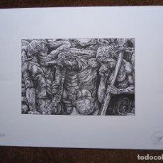 Arte: SERIGRAFÍA DE PEDRO CASTRO COUTO 18/50 MONUMENTO A CURROS MIDE 33 X 48CM. LATERAL DO MUNUMENTO A CUR. Lote 267235074